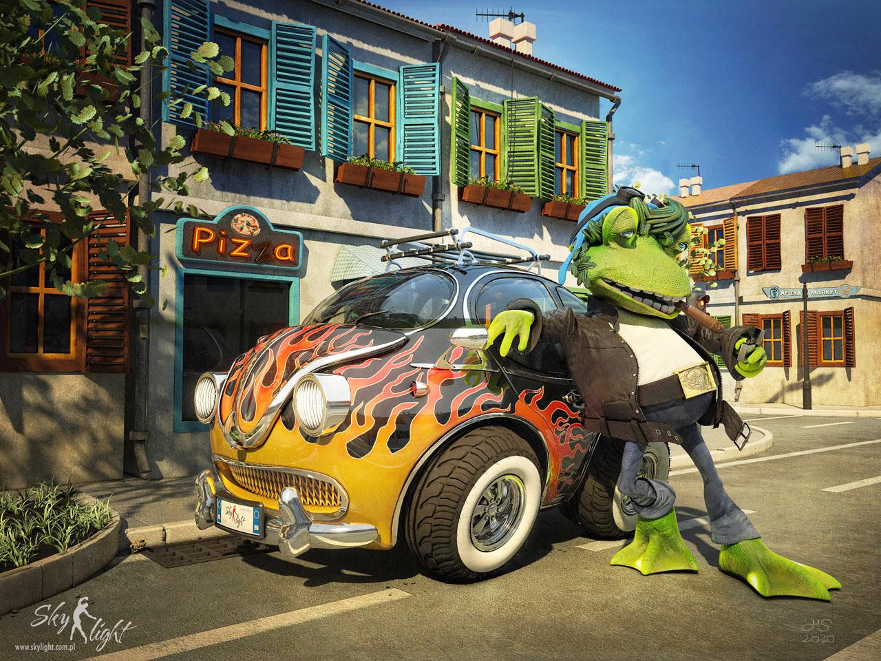 -  - Żaba, samochód